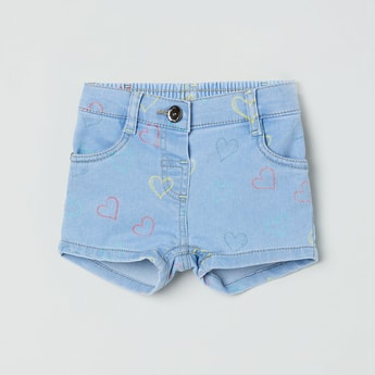 MAX Heart Print Denim Shorts