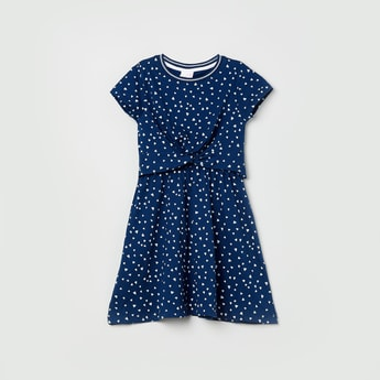 MAX Heart Print Knotted Popover Dress