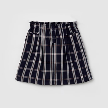 MAX Checked A-line Skirt