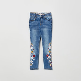 MAX Dark Washed Slim Jeans with Floral Embroidery
