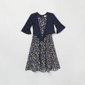 MAX Printed A-line Dress with Shrug