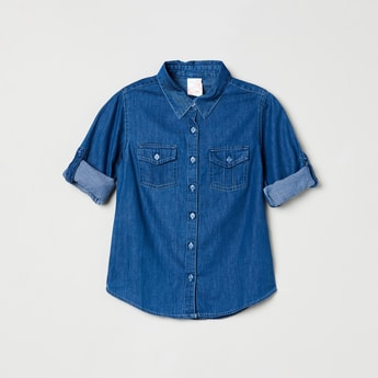 MAX Roll-Up Sleeves Solid Denim Shirt