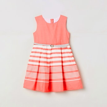 MAX Variegated Striped Sleeveless Fit & Flare Dress