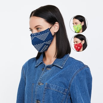 MAX Women Printed Face Mask - Set of 3