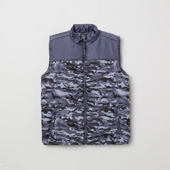 MAX Camouflage Print Padded Gilet Jacket