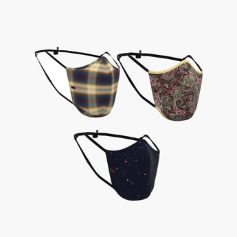 PETER ENGLAND Unisex Checked Reusable Face Masks - Pack of 3
