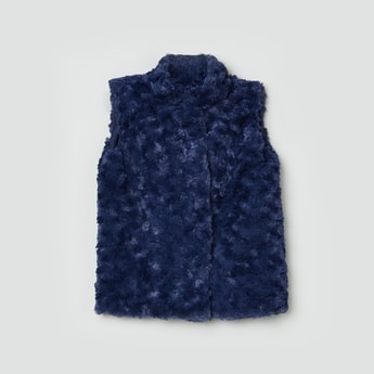 MAX Faux-Fur Trim Sleeveless Jacket