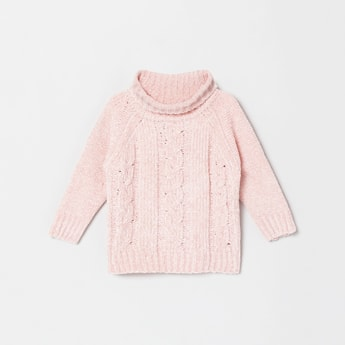 MAX Patterned Knit Sweater with Turtle Neck