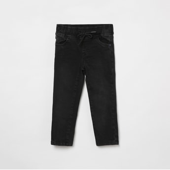 MAX Stonewashed Slim Fit Jeans with Drawstring Waist