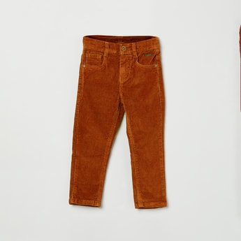 MAX Solid Corduroy Full-Length Trousers