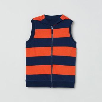 MAX Striped Sleeveless Hooded Jacket