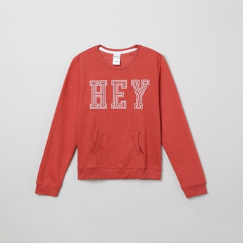MAX Typographic Print Sweatshirt with Kangaroo Pockets