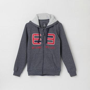 MAX Appliqued Hooded Sweatshirt with Zip-Closure