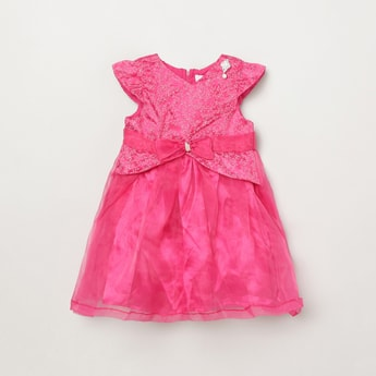 MAX Embellished A-line Pleat-Fall Dress with Bow Detail