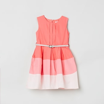 MAX Colourblock Fit and Flare Dress with Detachable Belt
