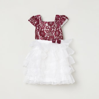 MAX Floral Lace Tiered Dress