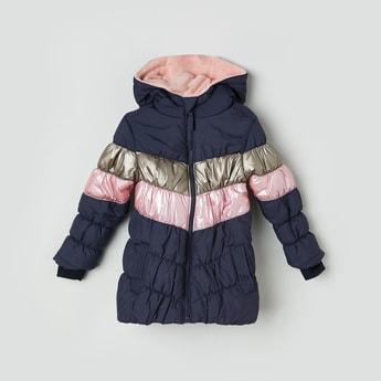 MAX Colourblocked Puffed Hooded Jacket
