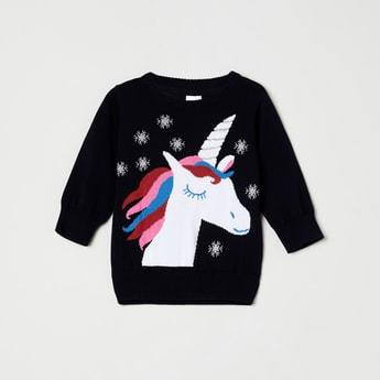 MAX Unicorn Pattern Round Neck Sweater
