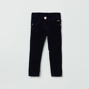 MAX Solid Full-Length Corduroy Trousers