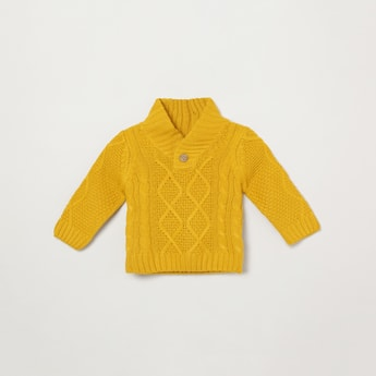 MAX Cable Knit Cowl-Neck Sweater
