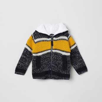 MAX Colourblocked Knitted Hooded Sweater
