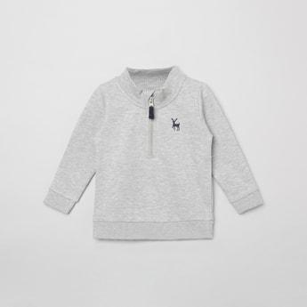 MAX Melange High-Neck Sweatshirt with Zip-Closure