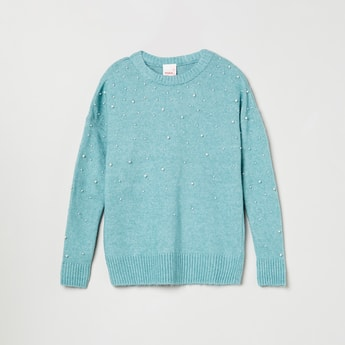 MAX Beaded Round-Neck Sweater
