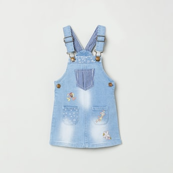 MAX Stonewashed Denim Pinafore Dress with Floral Embroidery