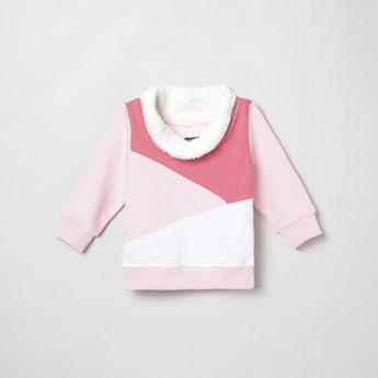 MAX Colorblocked Faux Fur Neck Sweatshirt