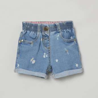 MAX Floral Print Denim Shorts with Upturned Hems