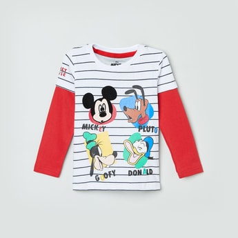 MAX Mickey Mouse Print Full Sleeves T-shirt