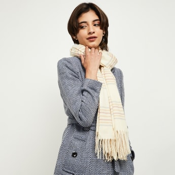MAX Checked Knit Tassel Detailed Muffler