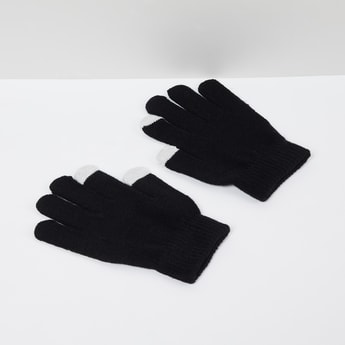 MAX Colourblocked Flat-Knit Gloves