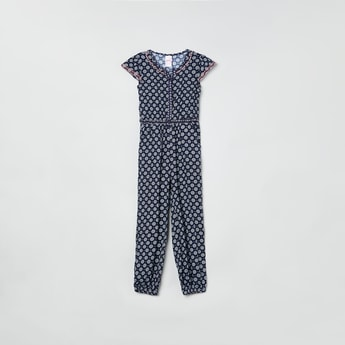 MAX Printed Jumpsuit with Button Placket