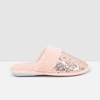 MAX Sequinned Mules with Faux-Fur Trim