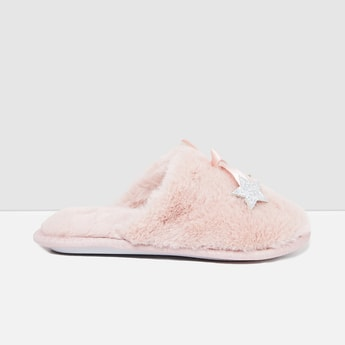 MAX Fauc-Fur Mules with Star Applique