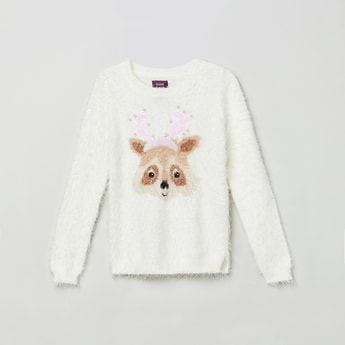 MAX Fox Patterned Fuzzy Knit Swetaer