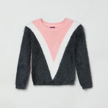 MAX Colourblocked Full Sleeves Fuzzy Sweater
