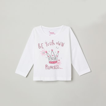MAX Typographic Print T-shirt with Long Sleeves