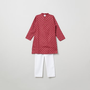 MAX Printed Kurta with Solid Elasticated Pyjama