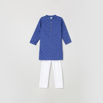 MAX Printed Band Collar Kurta with Elasticated Waist Pyjamas