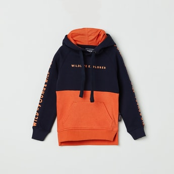 MAX Colourblock Full Sleeves Hooded Sweatshirt