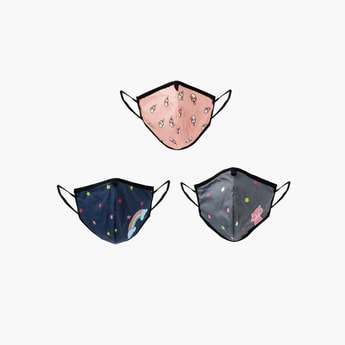 MAX Girls Printed Face Mask- Set of 3 - 3-6 Y