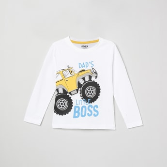MAX Printed Full Sleeves T-shirt with Crew  Neck