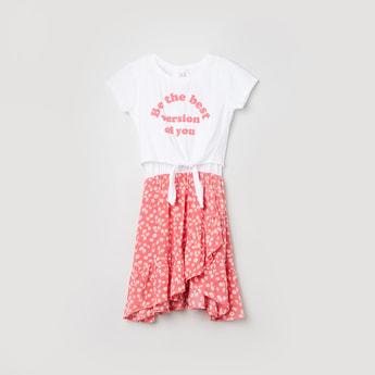 MAX Sleeveless Ruffled Dress with Tie-up Waist T-shirt