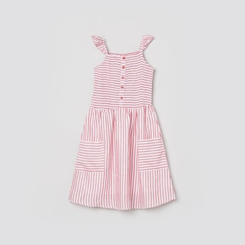 MAX Striped A-Line Dress With Tie-up Detailing