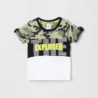 MAX Typographic Print Camouflaged Crew-Neck T-shirt