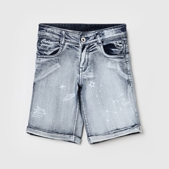 MAX Printed Stonewashed Denim Shorts