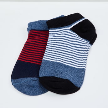 MAX Kids Striped Ankle-Length Socks - Set of 2 - 7-10 Y