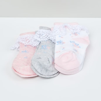MAX Patterned Lace-Trimmed Ankle-Length Socks - Set of 3